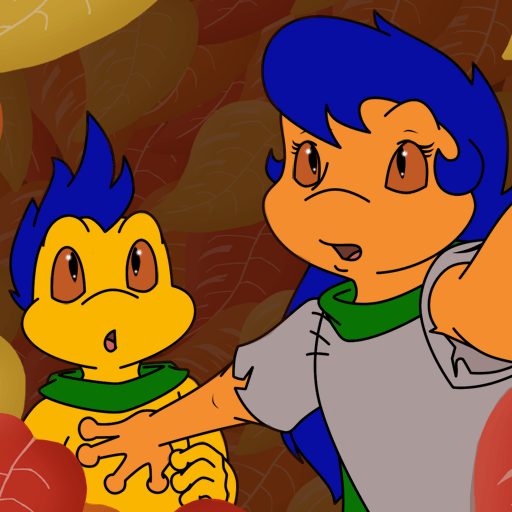 Visual novel characters, Spindle Shank and his mother, Frey, look toward the audience cautiously.